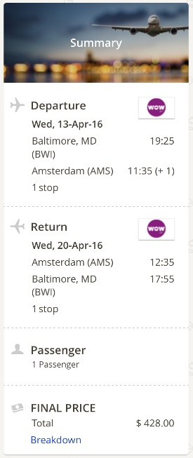 Washington to Amsterdam