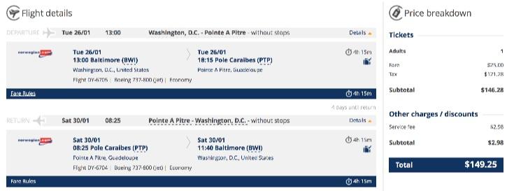 Washington to Guadeloupe