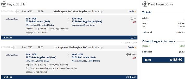 Washington to Los Angeles