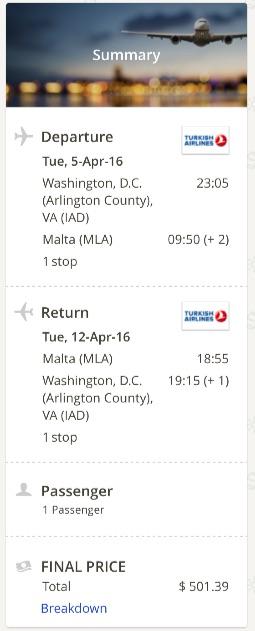 Washington to Malta
