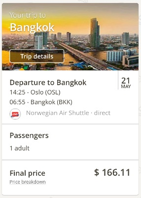 Oslo, Norway, to Bangkok, Thailand