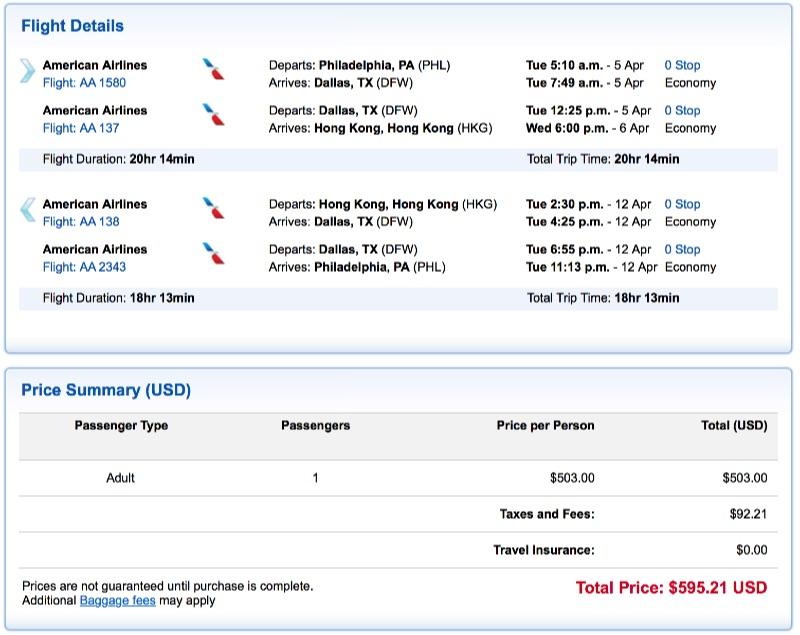 Philadelphia to Hong Kong