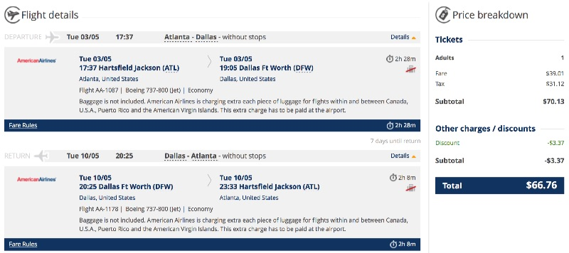 cheap flight from Atlanta to Dallas