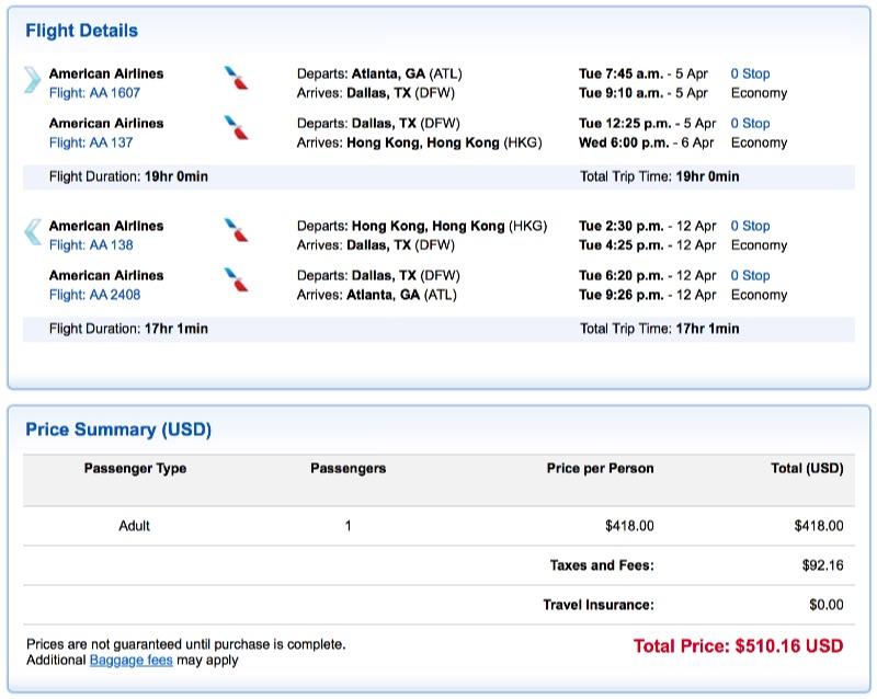 Atlanta to Hong Kong