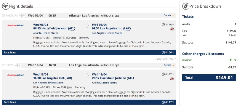 cheap flights from Atlanta to Los Angeles