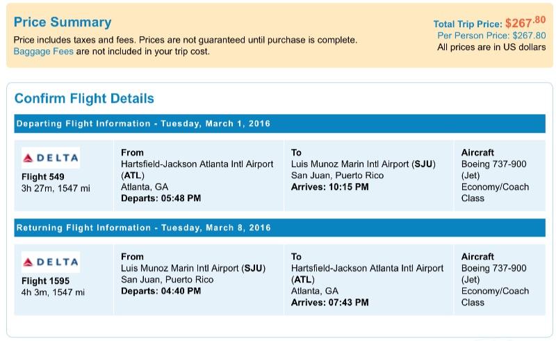 Atlanta to San Juan