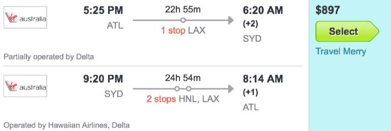 Atlanta to Sydney