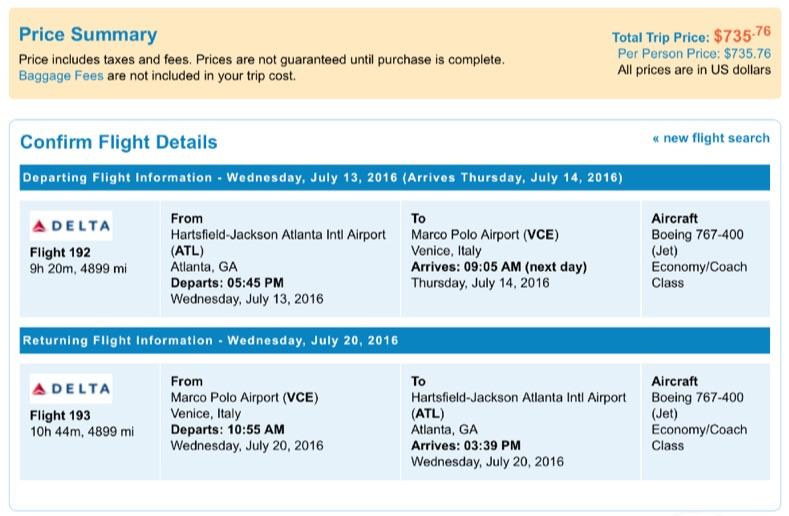Atlanta to Venice