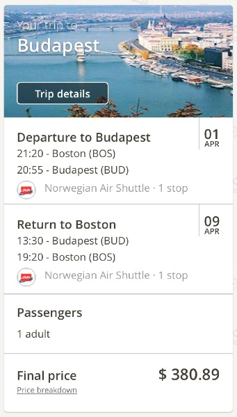 Boston to Budapest, Hungray
