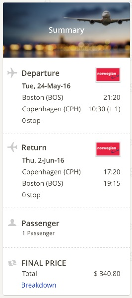 cheap flight from Boston to Copenhagen