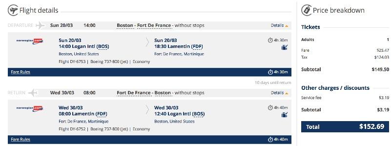 Boston to Martinique
