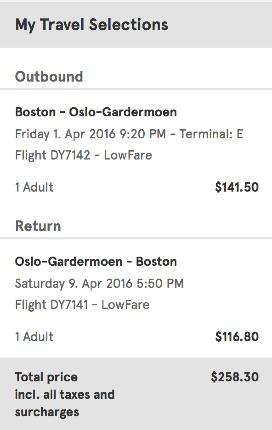 Boston to Oslo
