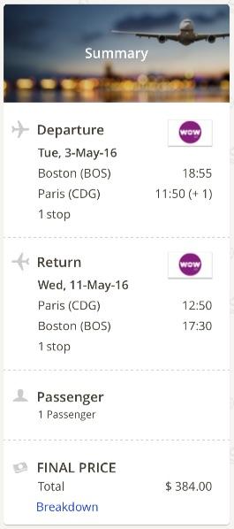 Boston to Paris