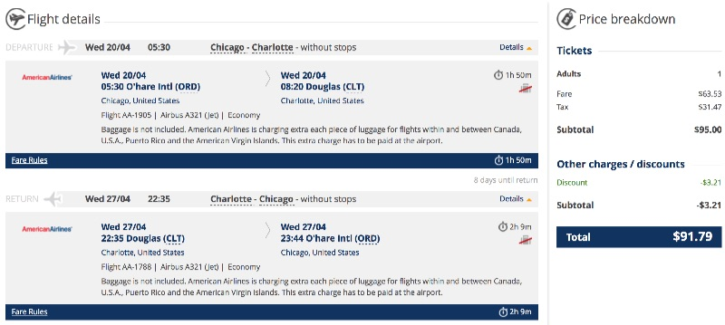 Chicago to Charlotte