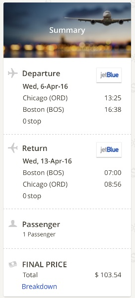 Chicago to Boston