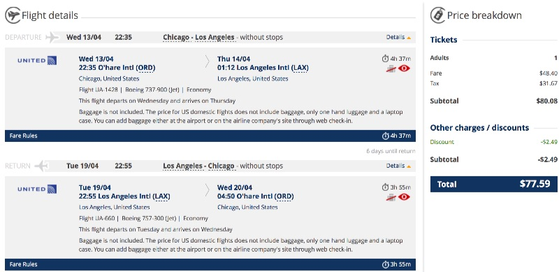 Cheap flight from Chicago to Los Angeles