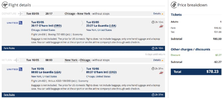 Chicago to New York