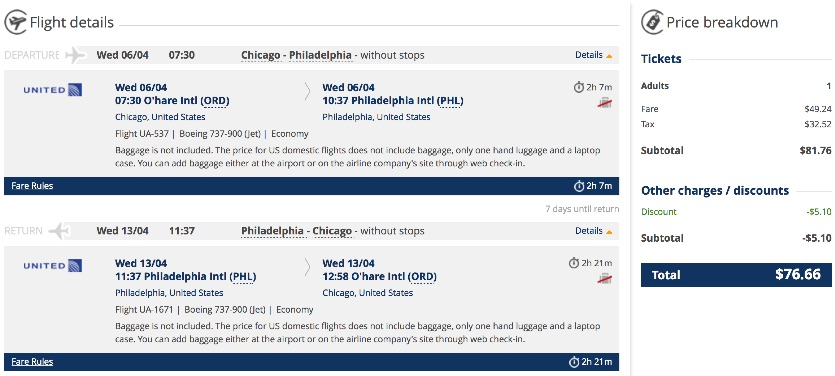 Chicago to Philadelphia