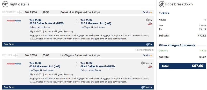 Dallas to Las Vegas