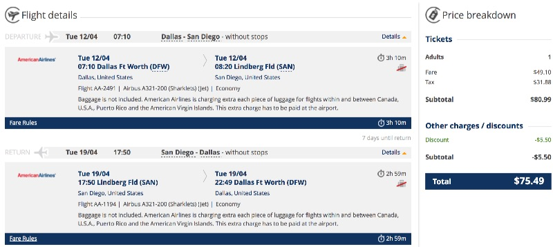 Dallas to San Diego, California