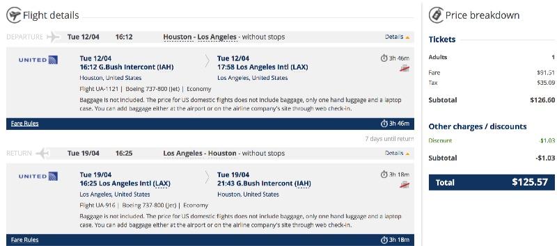 Houston to Los Angeles