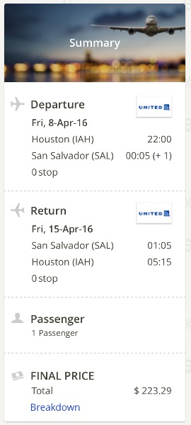 Houston to San Salvador