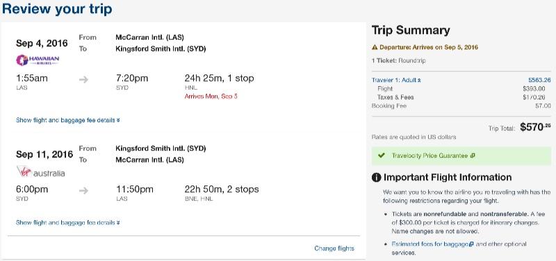 Las Vegas to Sydney