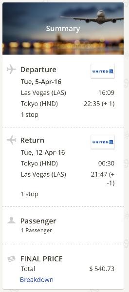 Las Vegas to Tokyo, Japan