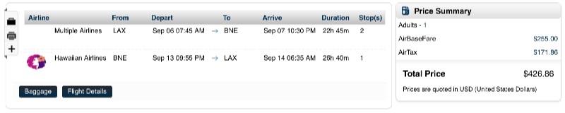 Los Angeles to Brisbane, Australia