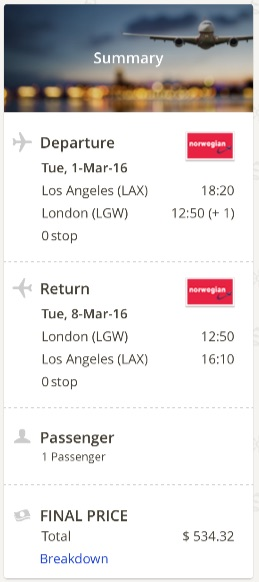 Los Angeles to London
