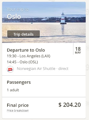 Los Angeles to Oslo, Norway
