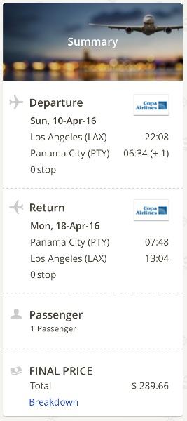 Los Angeles to Panama