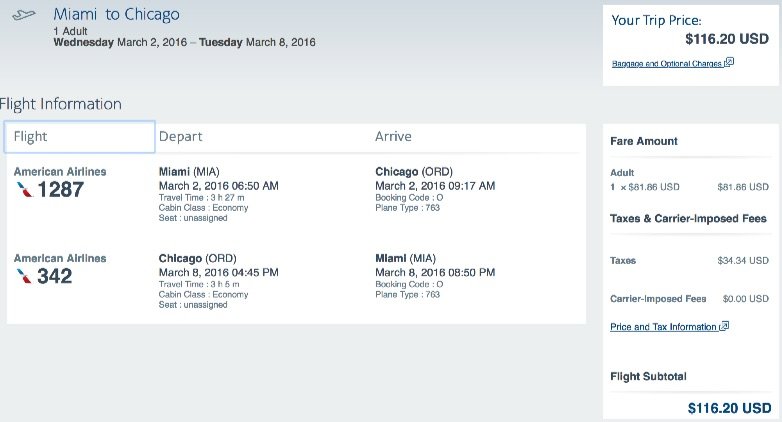 Miami to Chicago