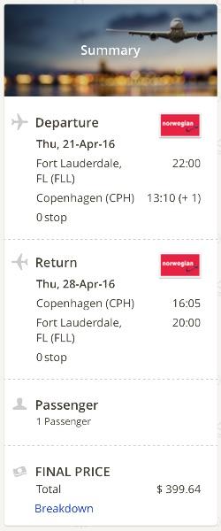 cheap flight from Miami to Copenhagen