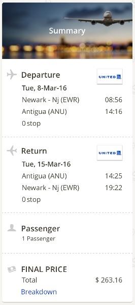 New York to Antigua