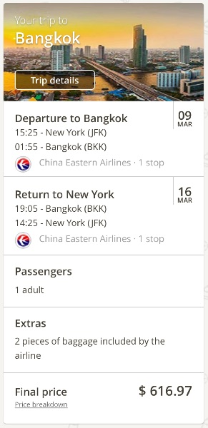 New York to Bangkok, Thailand
