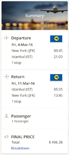 cheap flight storm New York to Istanbul