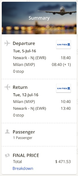 cheap flights from New York to Milan