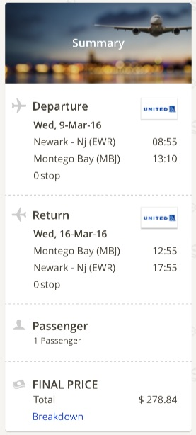 New York to Montego Bay, Jamaica