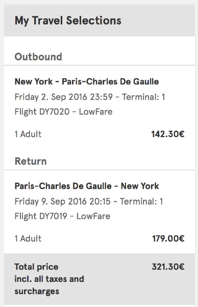 cheap flights from New York to Paris, France