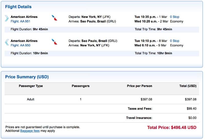 cheap flights from New York to Sao Paulo