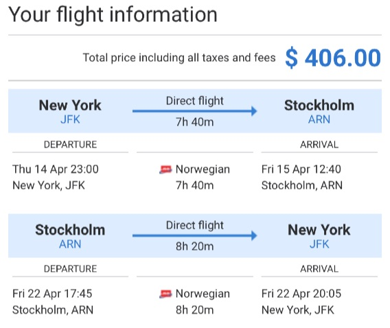 New York to Stockholm
