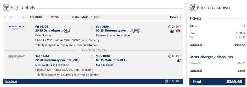 Oslo to Maldives