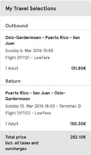 Oslo to San Juan, Puerto Rico