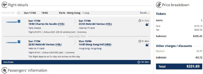 Paris to Hong Kong