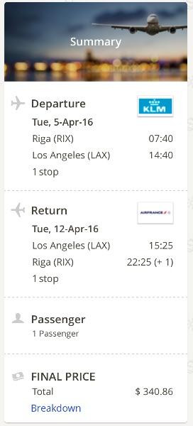 Riga to Los Angeles