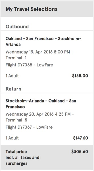 San Francisco to Stockholm