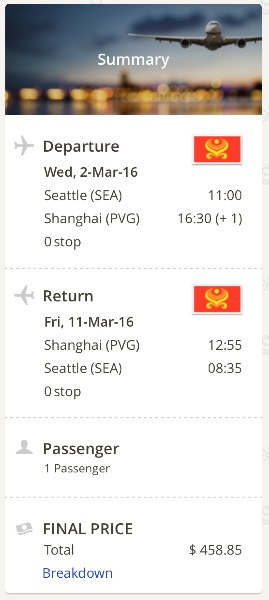 Seattle to Shanghai