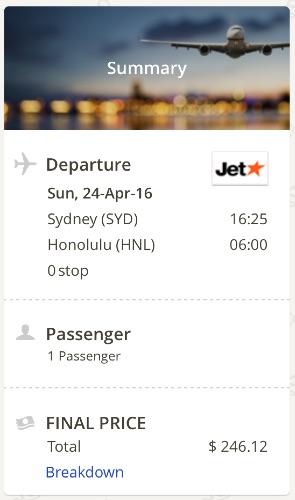 Sydney to Honolulu