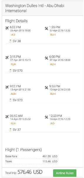 Washington to Abu Dhabi